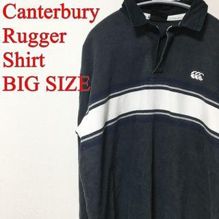CANTERBURY - CANTERBURY カンタベリー ラガーシャツ ラグビー ボーダー 刺繍 黒