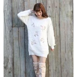 LIZ LISA - 花刺繍ニットワンピース ホワイト LIZ LISA 新品 未使用 送料込み