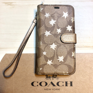 コーチ(COACH)のコーチ iPhone XS Xケース シグネチャー星 アイホン ブランド 手帳型(iPhoneケース)