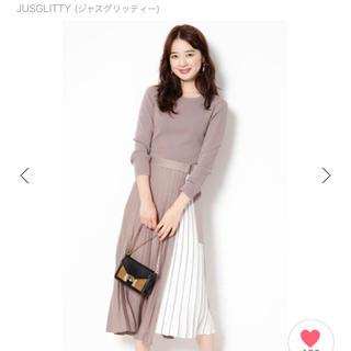 JUSGLITTY - 新品タグ付き❤JUSGLITTY 8分袖ベルト付配色プリーツニットワンピース