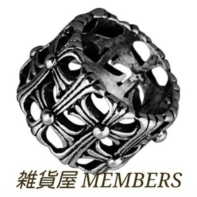 送料無料24号クロムシルバーサージカルステンレスクロス十字架セメタリーリング指輪 メンズのアクセサリー(リング(指輪))の商品写真