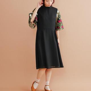 merlot - 新品 merlot plus 花刺繍レース袖ワンピース ブラック黒 結婚式ドレス