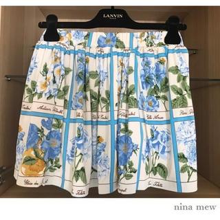 ニーナミュウ(Nina mew)のnina mew フラワー フレアー スカート ブルー ニーナミュウ(ミニスカート)