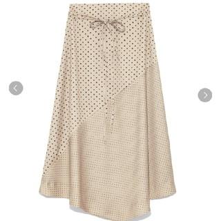 Mila Owen - ミラオーウェン 細ベルト切り替えドットサテンスカート