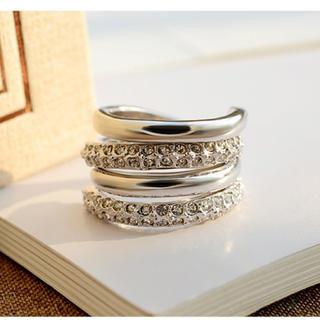 指輪 リング 2連 ファッション 2WAY スワロフスキー 金属アレルギー対応(リング(指輪))