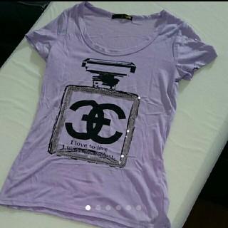 香水 香水瓶 ロゴ スパンコール キラキラ パープル Tシャツ(Tシャツ(半袖/袖なし))