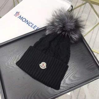 MONCLER - MONCLER ニット帽 ブラック