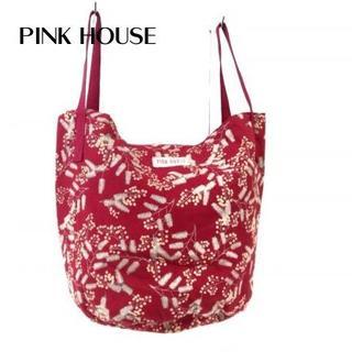 ピンクハウス(PINK HOUSE)のピンクハウス トートバッグ レッド×ダークグリーン×アイボリー(トートバッグ)