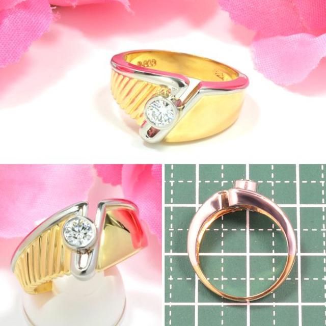 Pt900/K18ダイヤ0.25ctリング ほぼ無色良質ダイヤ DM060 レディースのアクセサリー(リング(指輪))の商品写真