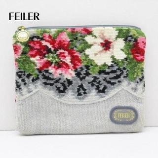 FEILER - FEILER(フェイラー) ポーチ グレー×マルチ 花柄 パイル