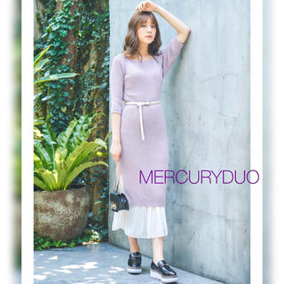 MERCURYDUO - セール◎5分袖プリーツドッキングニットワンピース