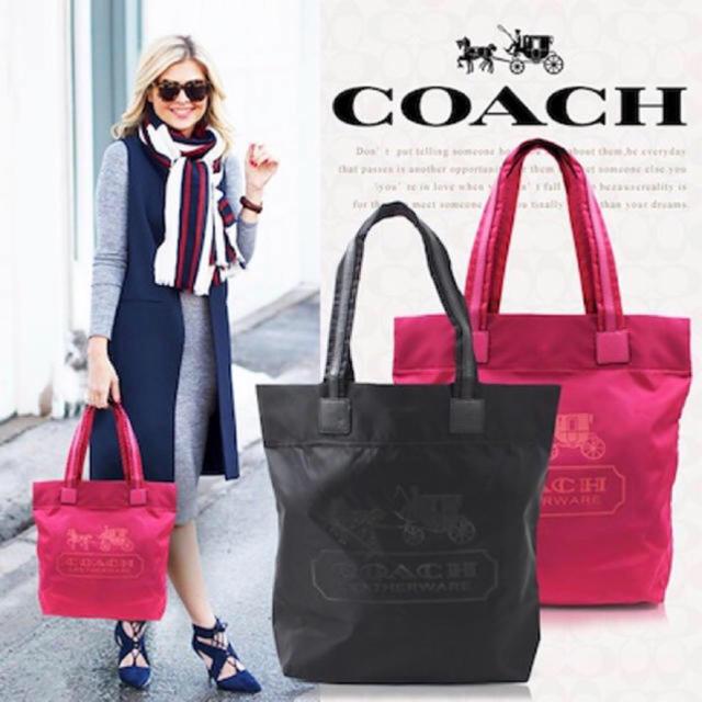 COACH(コーチ)の【新品未使用】 COACH コーチ 黒 ブラック ナイロン×本革レザートート  レディースのバッグ(トートバッグ)の商品写真