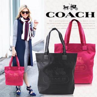 COACH - 【新品未使用】 COACH コーチ 黒 ブラック ナイロン×本革レザートート