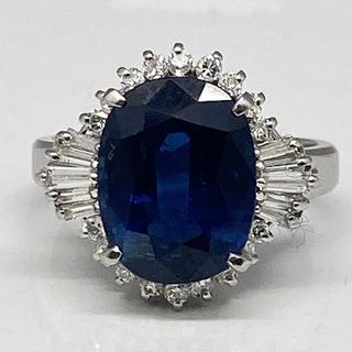 天然サファイア6.25ct ダイヤモンド0.58ct リング Pt900(リング(指輪))
