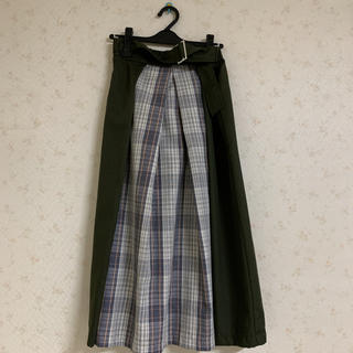 しまむら - チェック切り替えロングスカート
