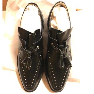 アメリヴィンテージ(Ameri VINTAGE)のSTUDS TASSEL LOAFER  BLACK L 確認用(ローファー/革靴)