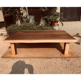 ローテーブルウォールナット皮付き135折れ脚日本製(ローテーブル)