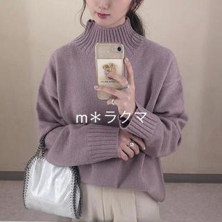 ジーユー(GU)のオーバーサイズハイネックニットチュニック(長袖) パープル Mサイズ(ニット/セーター)