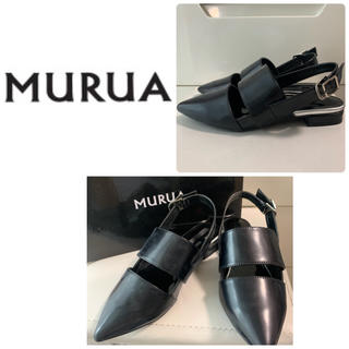 MURUA - ムルーア  ブラック ストラップサンダル