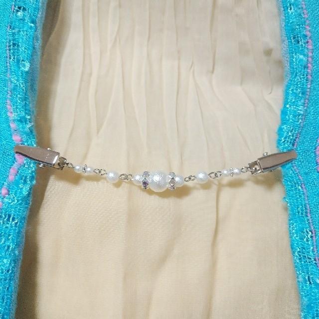 羽織留め ストールクリップ パールビーズ オーロラロンデル ハンドメイド 新品 レディースの水着/浴衣(着物)の商品写真