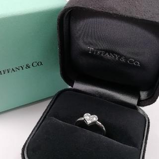 ティファニー(Tiffany & Co.)の美品 ティファニー ハート 3P プラチナ ダイヤ リング AN70(リング(指輪))