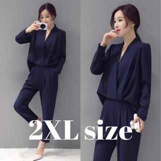 レディース パンツ スーツ ドレス オールインワン 風 ネイビー 2XLサイズ(スーツ)
