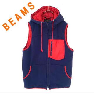 ビームス(BEAMS)のBEAMS ビームス レトロ ダウンベスト パーカー  メンズ 赤 青(ダウンベスト)