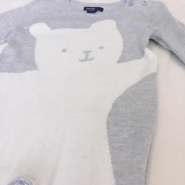babyGAP(ベビーギャップ)のbaby GAP くま ニット ロンパース 60cm グレー 白 モノトーン キッズ/ベビー/マタニティのベビー服(~85cm)(ロンパース)の商品写真