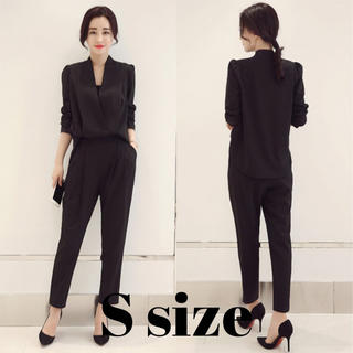 レディース パンツ スーツ ドレス オールインワン 風 ブラック Sサイズ