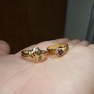 専用出品K18バケットカットダイヤリング サファイアリング(リング(指輪))