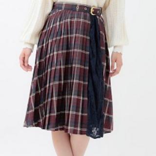 リズリサ(LIZ LISA)の配色チェックプリーツスカート ネイビー(ロングスカート)