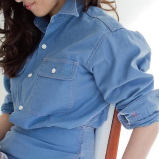 MADISONBLUE - マディソンブルー ハンプトンバックサテンシャツ ブルー01