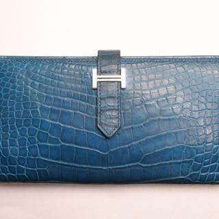 エルメス(Hermes)のエルメス ベアンスフレ クロコダイル アリゲーター 2つ折り長財布 ブルー系 (長財布)