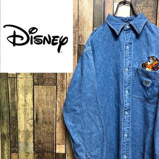 Disney - 【激レア】ディズニー☆くまのプーさんティガーキャラ刺繍デニムシャツ 90s