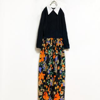 【80s】ヴィンテージ プリーツ 花柄 ワンピース レディース M 古着(ロングワンピース/マキシワンピース)