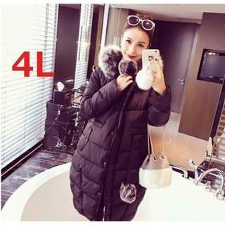 新品大きいサイズ 4L ファーフード付きロングコート 黒(ロングコート)