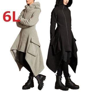 新品大きいサイズ6Lゆったりイレギュラーヘムマキシロングパーカーコート黒(パーカー)