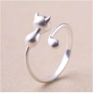 シルバー925 かわいい ネコ リング レディース 指輪 マットシルバー(リング(指輪))