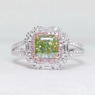 gia✴︎FBGY1.02カラットメイングリーンイエローダイヤモンド指輪(リング(指輪))