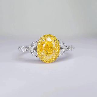 gia♪1.01カラットファンシーイエローダイヤモンドリング(リング(指輪))