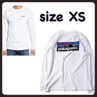 パタゴニア(patagonia)のXS パタゴニア ロングスリーブ P6 ロゴ 長袖 Tシャツ 白 ロンT長T(Tシャツ/カットソー(七分/長袖))