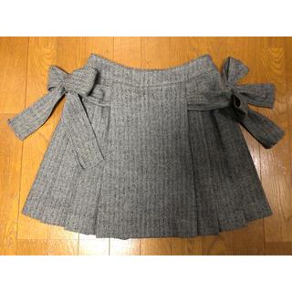 JaneMarple - JaneMarpleヘリンボーンサイドリボンプリーツスカート グレー