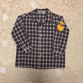 ミキハウス(mikihouse)のミキハウス チェックシャツ 90 くま ワッペン  ブラウス(ブラウス)