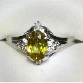 キラキラ輝くPt900スフェーンダイヤモンドリング(リング(指輪))