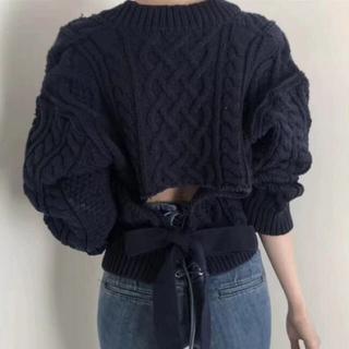 snidel - 秋冬 新作❤ケーブル編み 背中あき バックオープンリボンニット
