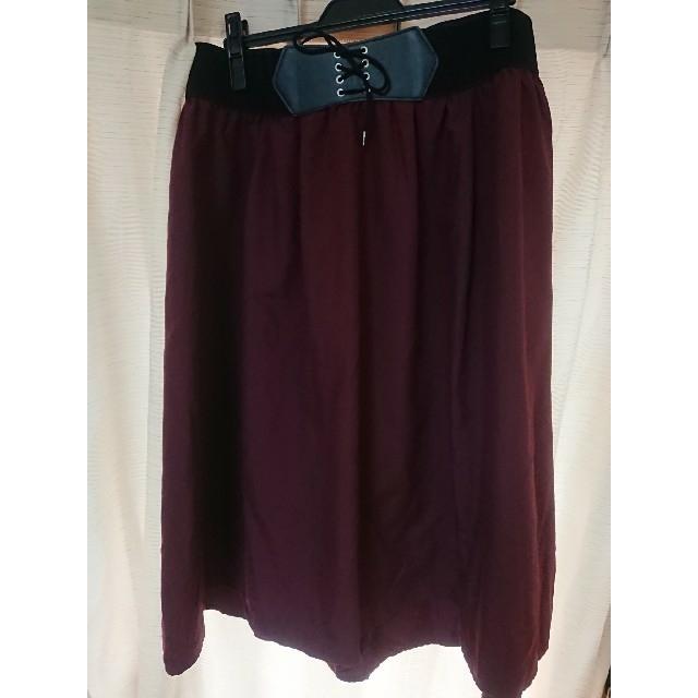 スカート/ボルドー/大きいサイズ 4L レディースのスカート(ひざ丈スカート)の商品写真
