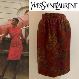 サンローラン(Saint Laurent)のYVES SAINT LAURENT PARIS 90s 花リーフ柄スカート (ひざ丈スカート)
