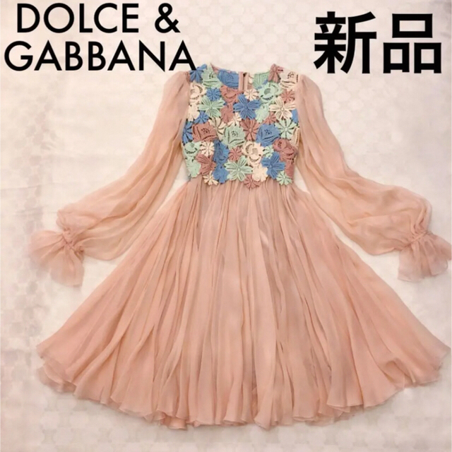 DOLCE&GABBANA(ドルチェアンドガッバーナ)の【新品、タグ付き】DOLCE & GABBANA シルクシフォンワンピース正規品 レディースのワンピース(ひざ丈ワンピース)の商品写真
