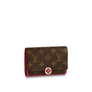 LOUIS VUITTON - ルイヴィトン 財布 二つ折り財布 LV ロゴ フューシャ ブラワン