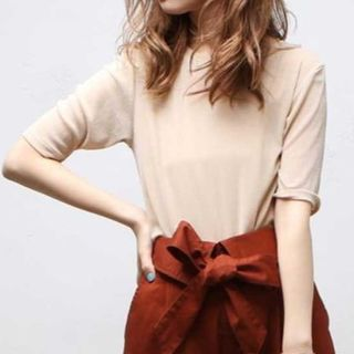 natural couture - 【新品タグ付き2点】ラメニットソー&キャミソール ベージュ ナイスクラップ